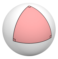 A triangle drawn on a sphere, with right angles at all three vertices